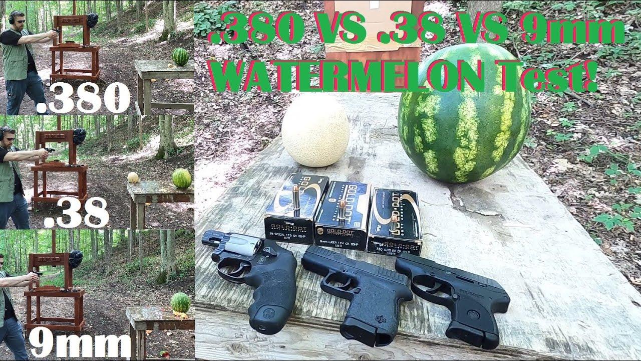 Best Pocket Gun Caliber? .380 VS .38 VS 9mm WATERMELON Test!