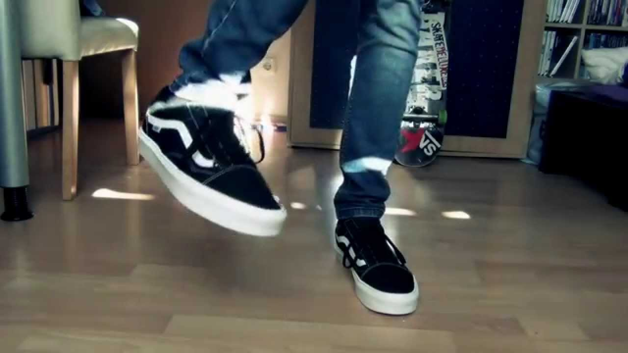 Vans Old Skool Lite BLACK WHITE - On Feet - YouTube 109252ae5538