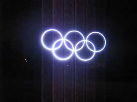 Olympic Rings at YVR opening Light Show