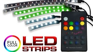 RGB 6 Strip LED Kit with Wireless RF Remote and Sound Flashing