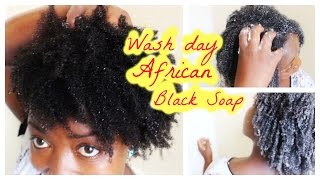 Natural Hair Wash Day Routine with DIY African Black Soap Shampoo