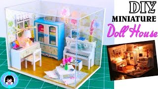 DIY Miniature Doll House Living Room~ cabinet,piano,desk and chair,coffee table~ Hemiola's Room