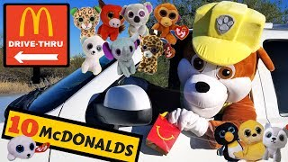 Paw Patrol Rubble Collects McDonald's Happy Meal Toys in Drive Thru