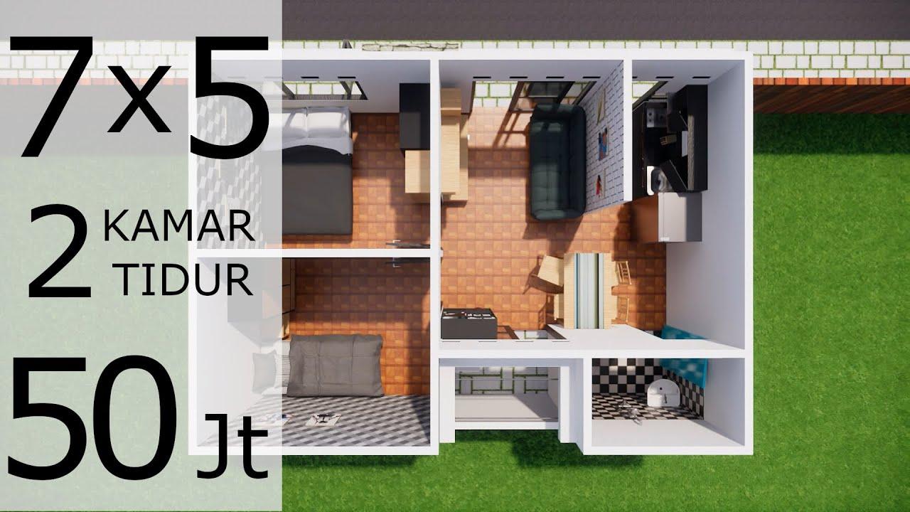 Desain Rumah Minimalis 7x5 Meter Cuma 50 Juta Youtube