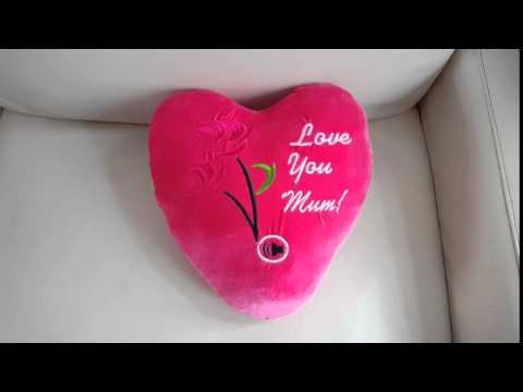 Mothers Day Heart Shaped Cushion **Record a personalised message upto 10 secs**