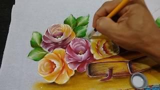 Roberto Ferreira Pintura Rosas sem desenhar ( 2 Parte) Passo a Passo