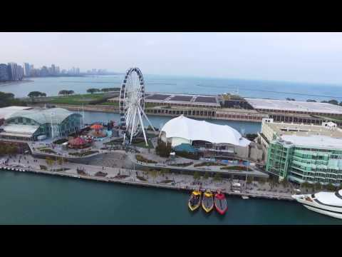 Aerial Video of Chicago Navy Pier
