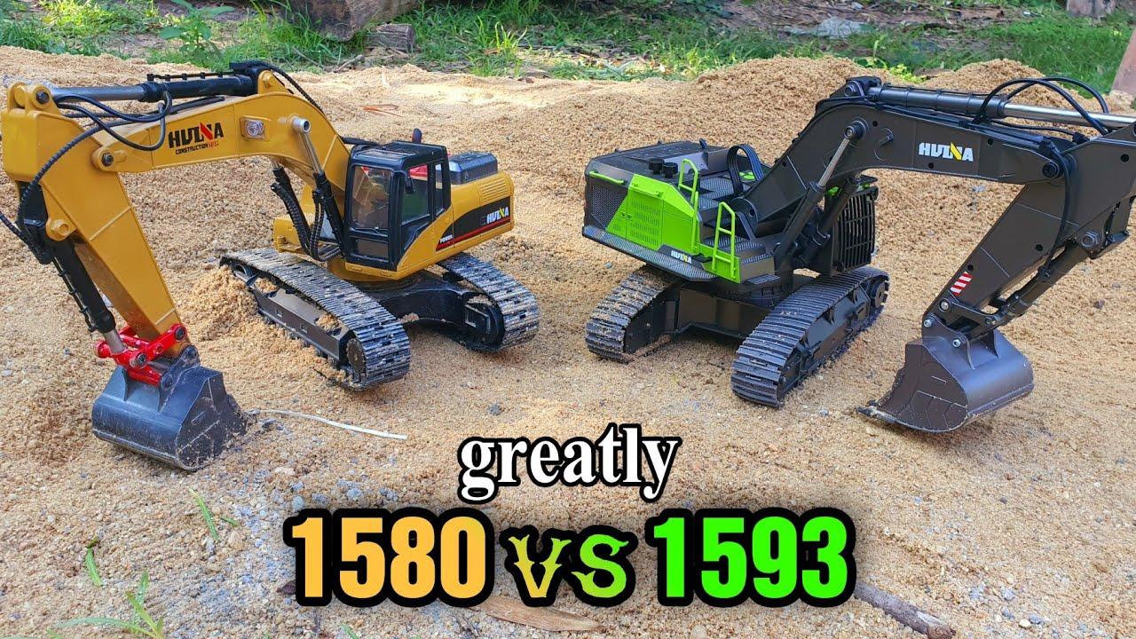 Download Test Power !! Huina Excavator 1580 4v  VS Huina Excavator 1593 greatly.