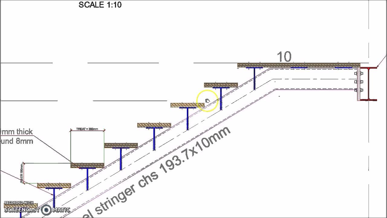 Single CHS Stringer Straight Single Flight Steel Staircase