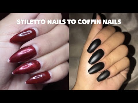 HOW TO: STILETTO TO COFFIN NAILS! | EASY