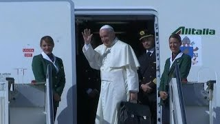 Pope takes off on historic two-week trip that ends in U.S.