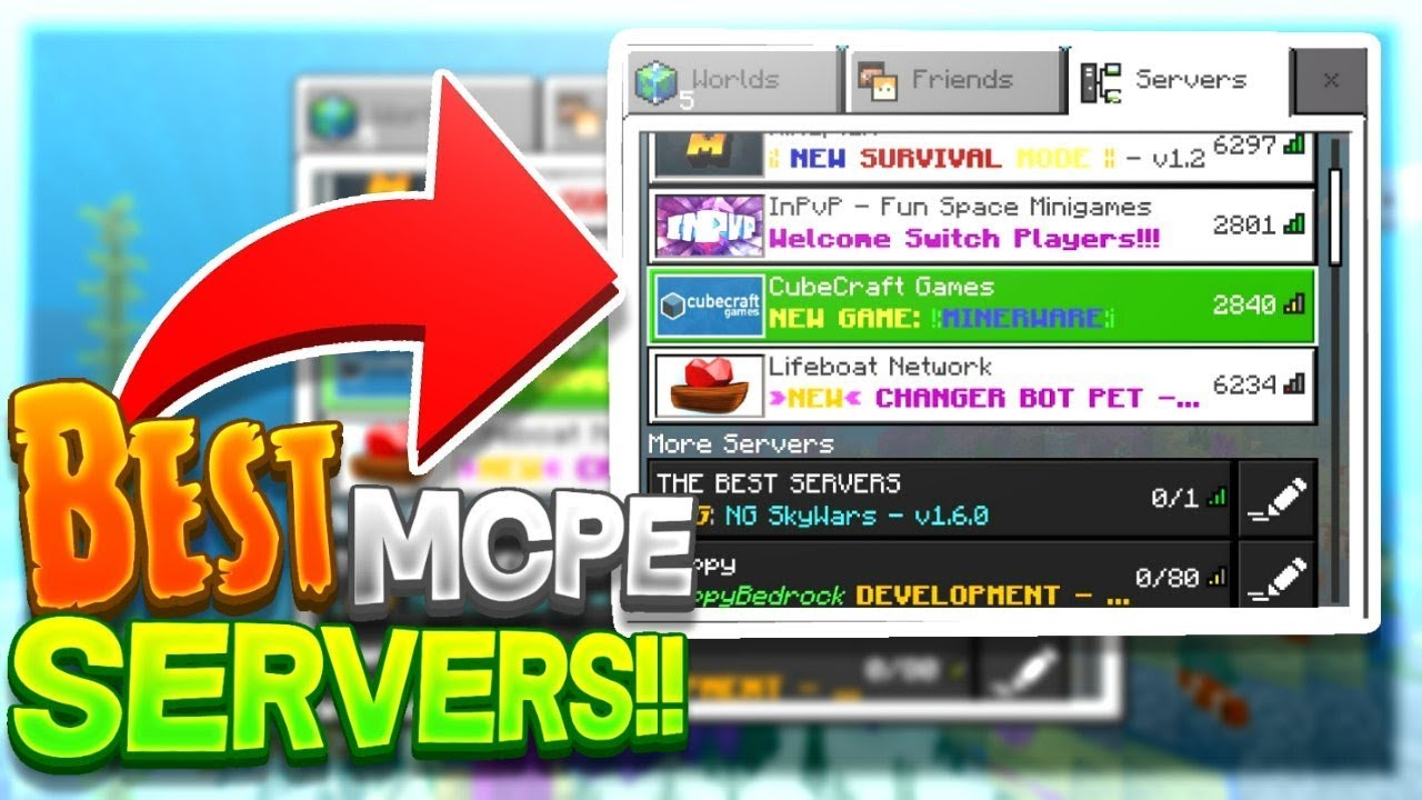 THE TOP 5 BEST MCPE SERVERS FOR 1 12 0 - Minecraft Pocket Editon!