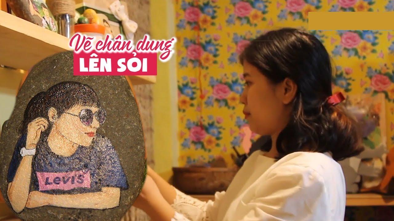Vẽ tranh lên sỏi đẹp mê ly, cô gái đẹp thành bà chủ tiệm vẽ giữa Sài Gòn