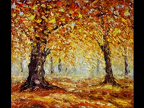 Autumn oil paintings for sale by palette knife artist Rybakow fine art gallery