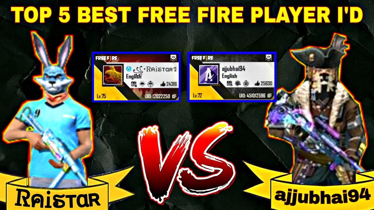 India Ka top 5 best player ki free fire I'd || ajjubhai94, @Raistar || @Raistar ki free fire I'd