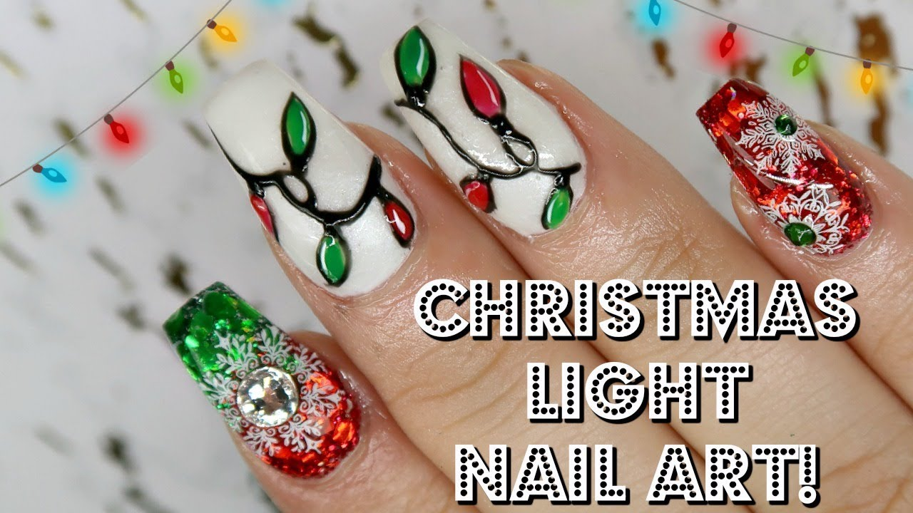 Christmas Light Nail Art Wildflowers Puffy Gels Day 7 Youtube