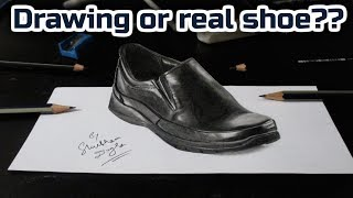 3D Pencil Drawing on paper | 3D shoe drawing timelapse