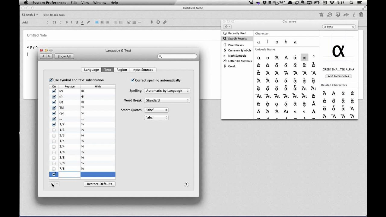 Greek Letter Shortcuts Mac Os X 108 Youtube