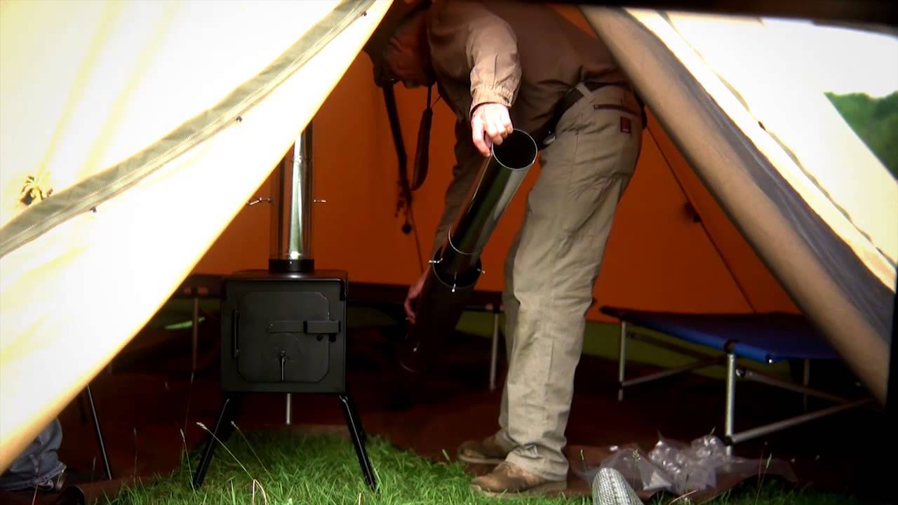- Wood Burning Camp Tent Stove In TheTipi Style Tent - YouTube