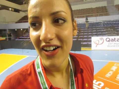 CAN 2014 : Nesrine Dawla après la remise de la Coupe