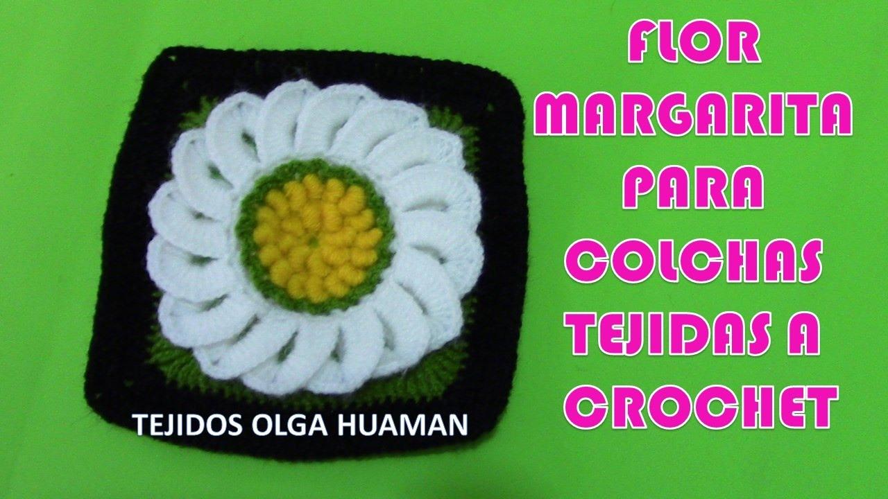 Cuadro o cuadrado a crochet Flores Margaritas para colchas y cojines ...