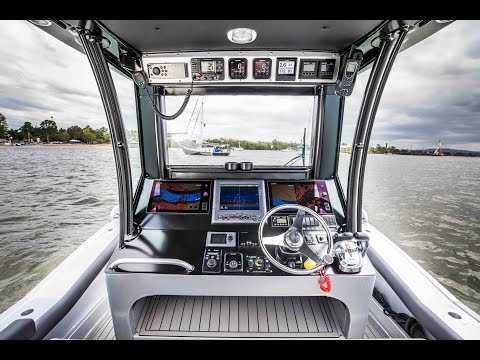 Retractable console screen by Australian Master Marine
