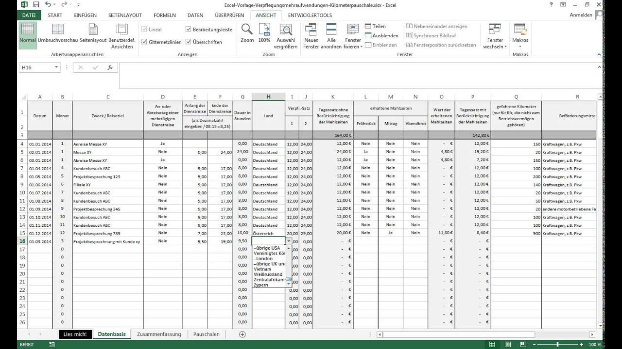 Vorstellung Excel Vorlage Verpflegungsmehraufwendungen