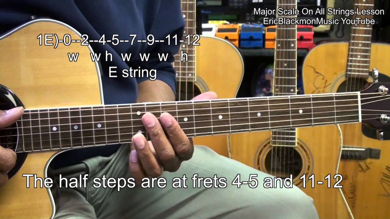 Learn Guitar Strings : learn the major scale on all 6 guitar strings in 5 minutes lesson ericblackmonmusichd youtube ~ Russianpoet.info Haus und Dekorationen