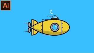 Güzel Görünümlü Düz bir Denizaltı İllüstrasyon Adobe Illustrator CC Öğretici -