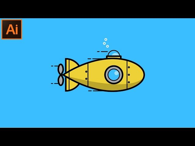 Adobe Illustrator CC Tutorial - How to Make a Beautiful Looking Flat Submarine Illustration