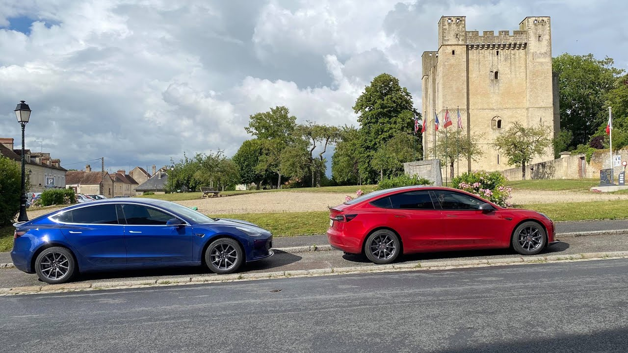 Road trip comparatif de consommation et de vitesse de recharge entre la Tesla model 3 LR vs SR+