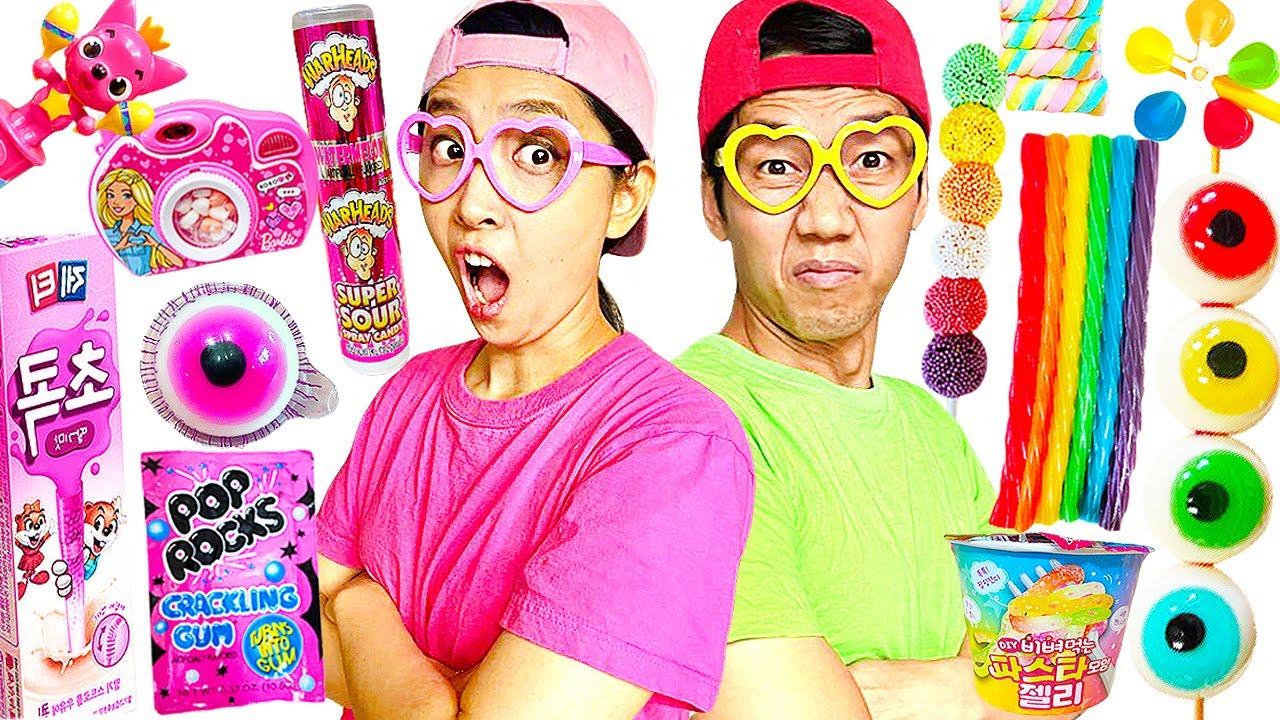 Pink Food VS Rainbow Food Challenge Yummy Mukbang