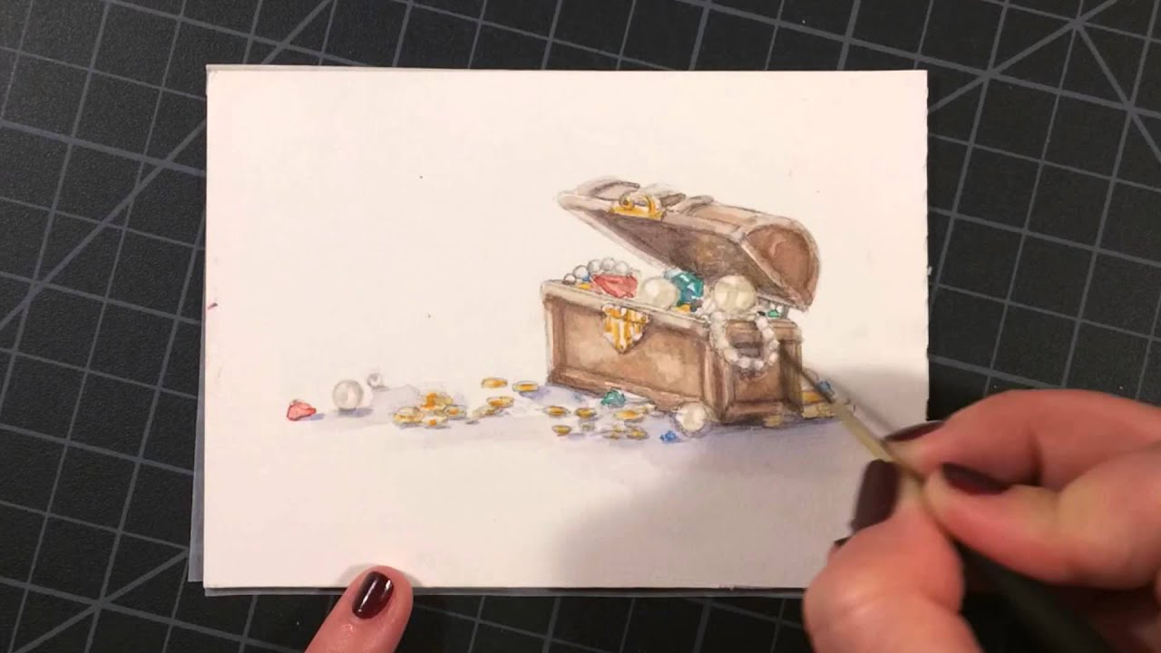 treasure chest watercolor time lapse youtube