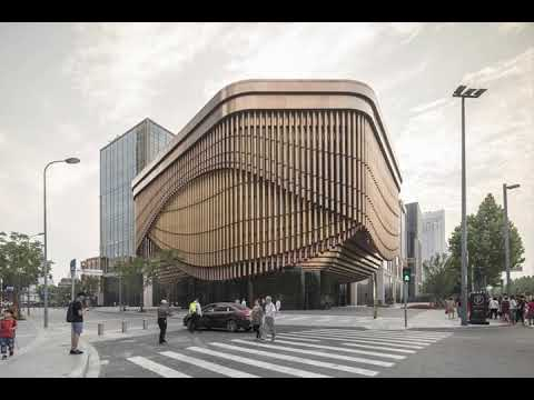 Timelapse shows moving curtain-like facade of theatre in Shanghai by Foster and Heatherwick