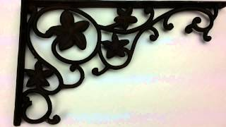"Cast Iron Wall Shelf Bracket Leaf Pattern 12.75"" Deep - Make Your Own Shelves"