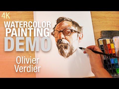 🎨🪑 Demo Aquarelle   Portrait d'Olivier Verdier 4K