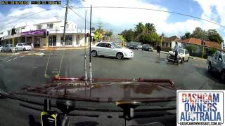 Driver speeds through red light in Perth - W.A