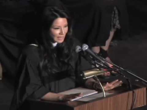 Lucy Liu finishes graduation keynote to Stuyvesant High School Class of 2009