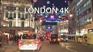 London Drive 4K - Christmas Lights - UK