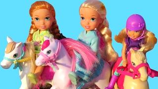 Horse Feeding & Washing ! Elsa & Anna toddlers - Muddy horse - Farm Play - Stable - Barn - Eat