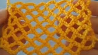 Вязание крючкои Сетчатые узоры крючком. Косая сетка.