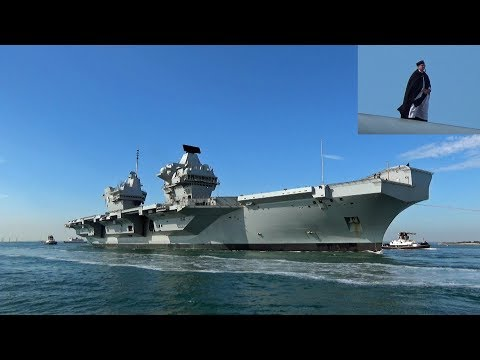 """ Big Lizzie ""  HMS Queen Elizabeth Aircraft Carrier Returns To Sunny Portsmouth"