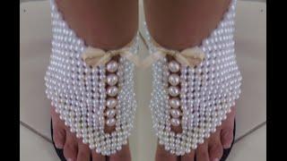 Sandália bordada em perolas – Super Top por Maguida Silva