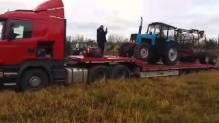 Перевозка тралом трактора с прицепом(, 2015-11-18T13:27:04.000Z)