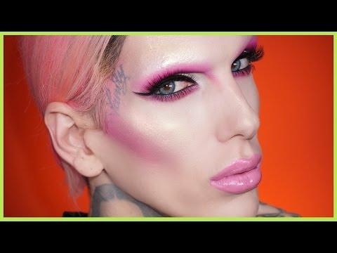 NO BROWS PINK CUT CREASE Makeup Tutorial | Jeffree Star