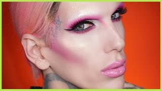 no brows pink cut crease makeup tutorial   jeffree star