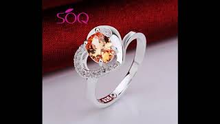 Japanese and Korean style heart shaped champagne zircon ring