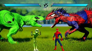 Green Alien Tyrannosaurus Rex, Spiderman Indominus Rex, Captain America Spinosaurus Fighting In JWE