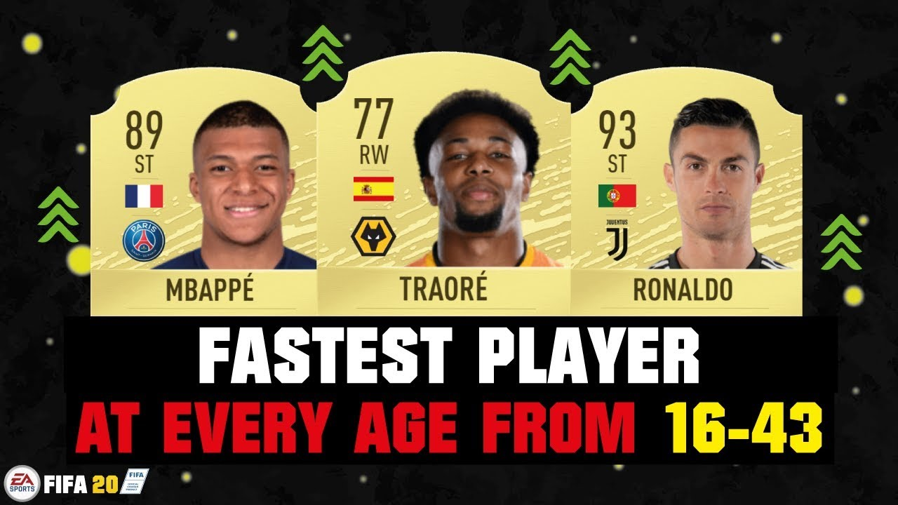 Fifa 20 Fastest Player At Every Age From 16 43 Ft Adama Traore Ronaldo Mbappe Etc Youtube