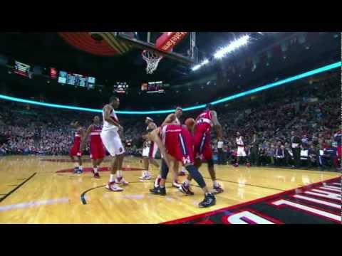 Nicolas Batum dunks on McGee and Booker (Feb 14, 2012)
